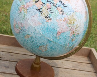 Old world globe hand painted