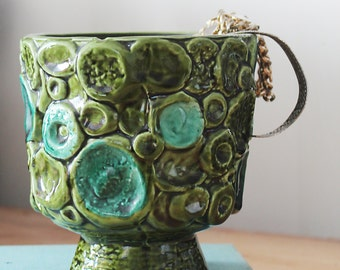 Green and turquoise ceramic bowl