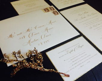 Wedding Calligraphy Envelope Addressing. Hand lettered Gold Ink by Professional Calligrapher for Outer and Inner Envelopes