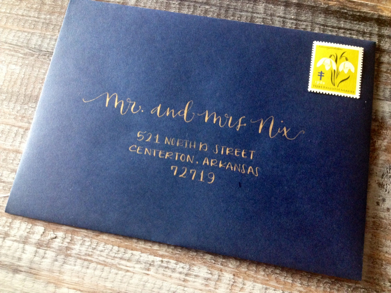 Calligraphy Wedding Invitations: Wedding Calligraphy Envelope Addressing. Modern Font Hand