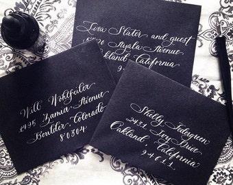 Wedding Calligraphy Envelope Addressing, Hand Lettered Envelope by Professional Calligrapher, White Ink on Black Envelope