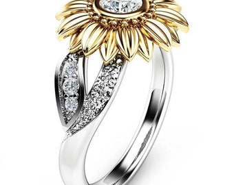 Sunflower Rings CZ Stone  Fashion Jewelry Gold Silver Color