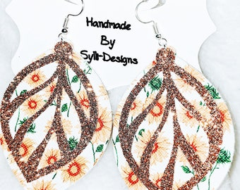 Sunflower faux leather earrings gold or green Glitter accent layer