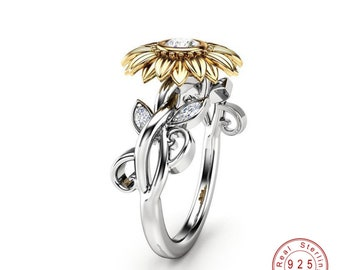 Sunflower Ring CZ Stone , Dainty , Fashion Jewelry Gold Silver Color