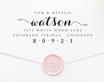 Address Stamp, Self Inking Stamp, Return Address Stamp, Wedding Gift, Housewarming, Rubber Stamp, Personalized, Wood Handle (T188)