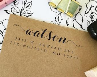 Custom Address Stamp, Self Inking Stamp, Return Address Stamp, Wedding Gift, Housewarming, Rubber Stamp, Personalized, Wood Handle (T108)