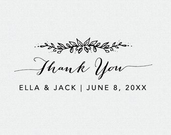 thank you stamp floral wedding favor stamp thank you etsy
