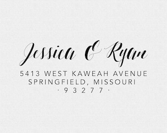wedding address stamp bridal shower gift self inking address stamp housewarming gift simple and elegant calligraphy t277