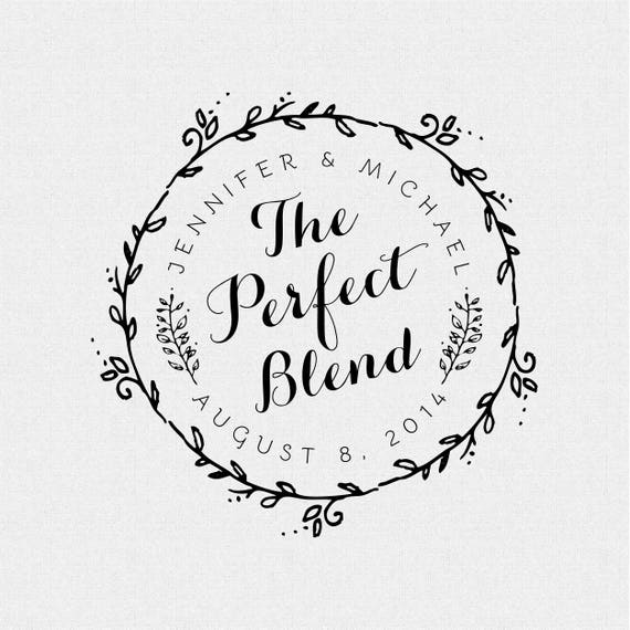 Personalized Wedding Stamp With Wreath The Perfect Blend