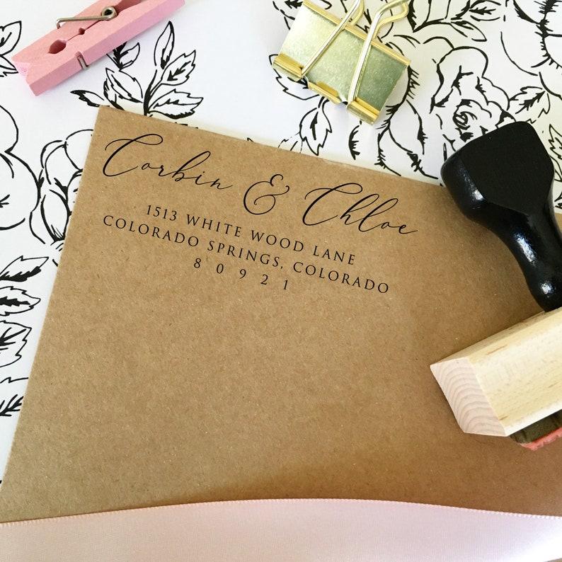 Engagement Custom Return Address Stamp Self Inking for Bridal Shower Gifts Bridal Shower Party Housewarming Stocking Stuffers T877