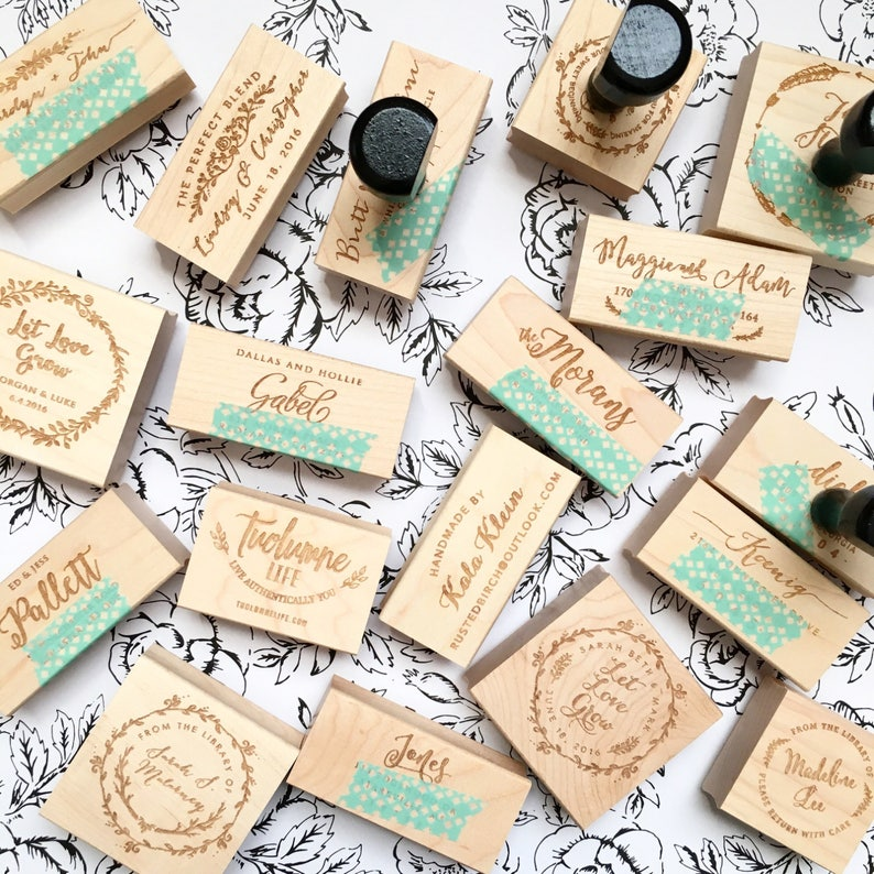 Personalized Popcorn Wedding Favor Stamp T528 Floral Personalized Wreath Self Inking Wood Handle Flowers Thanks For Popping By