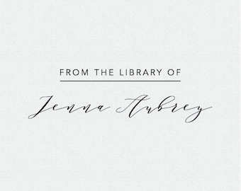 From the Library Of Stamp, Book Plate Stamp, Personalized Book Stamp, Personalized Library Stamp, Simple Cursive Library Stamp, Gift (T396)