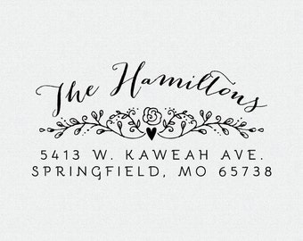 Address Stamp Rustic, Return Address Stamp Heart, Self Inking Return Address Stamp, Personalized Wedding Gift, Wedding Stamp (T193)