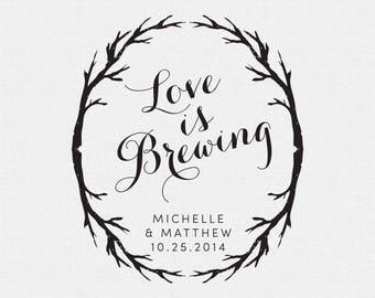 Love is Brewing Stamp, Rustic Wedding Favor Stamp, Coffee Cups Wedding Favor Stamp, Tea Bags Wedding Favor Stamp, Tree Wedding Favor (T298)