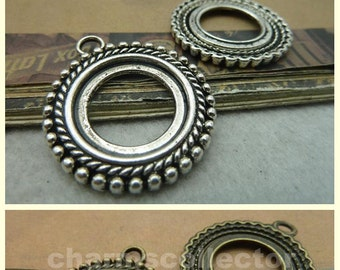 10PCS 20mm round bezel cup cabochon mounting beaded frame pendant tray antique silver (w5983)/ antique bronze (w2174) wholesale base setting