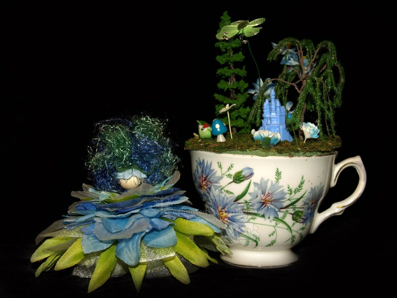 Faerie Lucy and her Teacup Nursery Fairy OOAK Flowers image 0