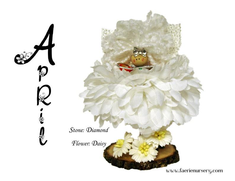 The Calendar Faeries  April  Diamond Daisy OOAK Fairy image 0