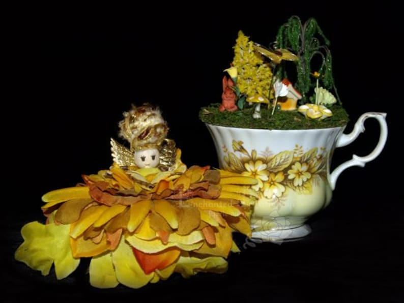 Faerie Buttercup and her Teacup Nursery Fairy OOAK image 0