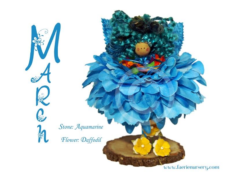 The Calendar Faeries  March  Aquamarine Daffodil OOAK image 0