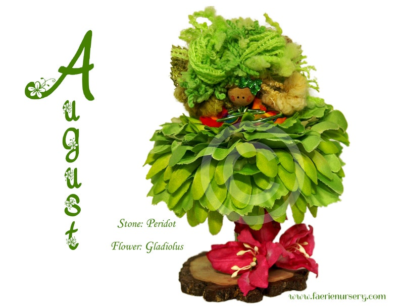 The Calendar Faeries  August  Peridot Gladiolus OOAK image 0