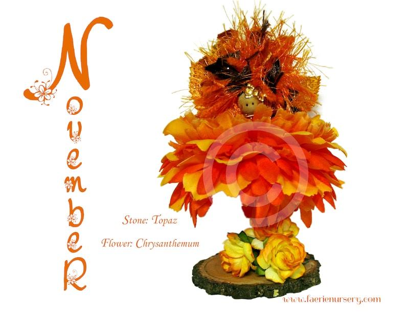 The Calendar Faeries  November  Topaz Chrysanthemum OOAK image 0