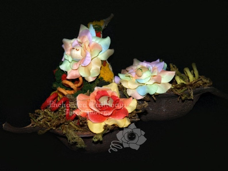 Faerie Seed Pod Baby Fairy OOAK Floral Wrap Roses image 0
