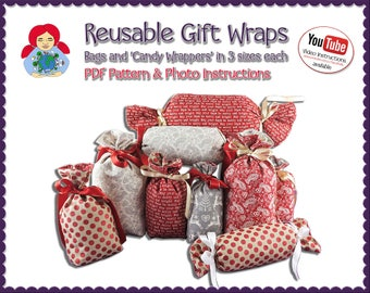Reusable Gift Wraps in 2 styles and 3 sizes each Pattern DIY Tutorial PDF