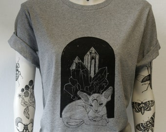 Sphynx cat, crystal, unisex t-shirt, hand printed, cat, sphynx