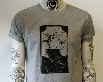 Two of crows, unisex t-shirt, hand printed, bird, corvus, crow