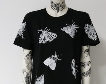Moth, moths, short dress, tunic, black, insects