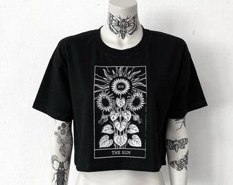 The Sun, womens oversized cropped top, hand printed , black, onesize, oversize, The Sun, sunflowers, Tarot