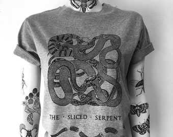 The Sliced Serpent, unisex t-shirt,hand printed, snake, snakes