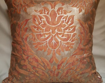 Fortuny Fabric Throw Pillow Cover Burnt Apricot & Silvery Gold Barberini Pattern Backed with Rubelli Orange Velvet - Made in Italy