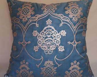 Fortuny Veronese in Blue & Silvery Gold Throw Pillow Cushion Cover - Made in Italy