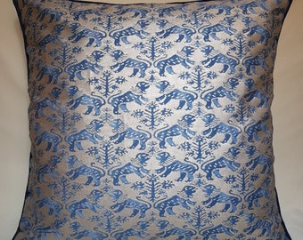 Fortuny Fabric Throw Pillow Cushion Cover in Indigo Blue & Silvery Gold Richelieu Pattern - Made in Italy