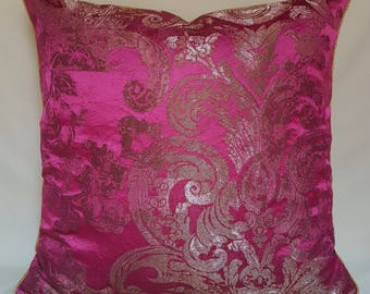 Silk Brocade Throw Pillow Cushion Cover Rubelli Fabric Fuchsia Barbarigo Pattern - Handmade in Italy
