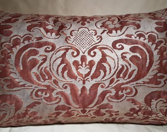 Lumbar Throw Pillow Cushion Cover in Fortuny Fabric Deep Burgundy & Gold Sevigne Patter - Made in Italy
