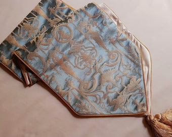 Luxury Table Runner with Pointed Ends And Tassels Silk Brocade Rubelli Fabric Aqua Blue & Gold Aida Pattern - Handmade in Italy