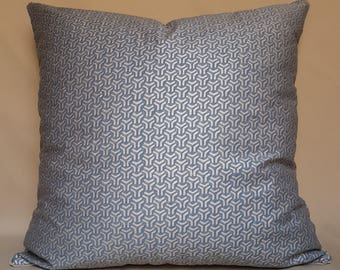 Fortuny Fabric Throw Pillow Cushion Cover Blue-Grey & Silver Bivio Pattern - Made in Italy