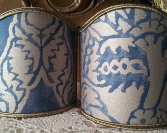Pair of  Wall Sconce Clip-On Shield Shades Fortuny Fabric Blue & Silvery Gold Nicolo Pattern Half Lampshade - Handmade in Italy