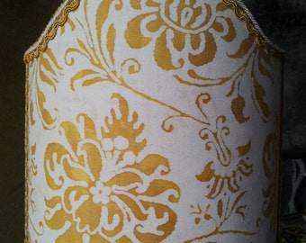 Clip-On Shield Shade Fortuny Fabric Yellow and White Cimarosa Pattern Half Lampshade - Handmade in Italy