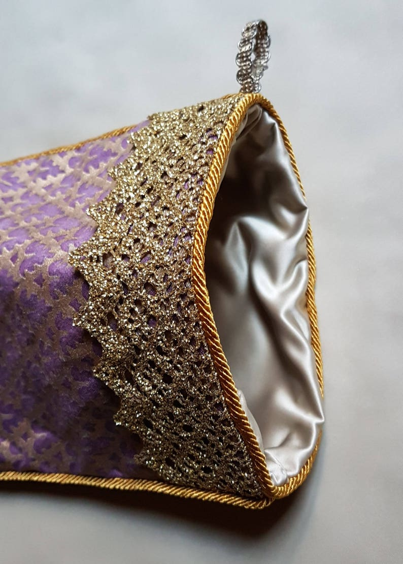Luxury Christmas Stocking Fortuny Fabric Chinese Plum /& Gold Murillo Pattern Made in Italy