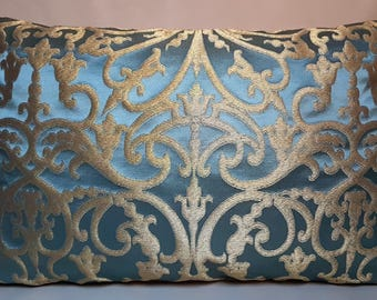 Blue & Gold Silk Jacquard Rubelli Fabric Throw Pillow Cushion Cover Serlio Pattern - Handmade in Italy