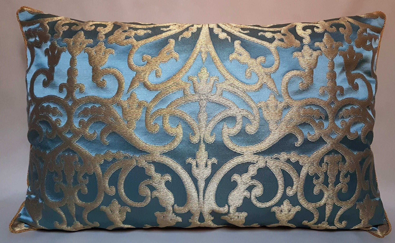 Blau & Gold Seide Jacquard Rubelli Stoff Kissen Kissenbezug