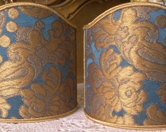 Pair of Clip-On Shield Shades Tebaldo Blue Rubelli Silk Brocatelle Fabric Mini Lampshade - Made in Italy