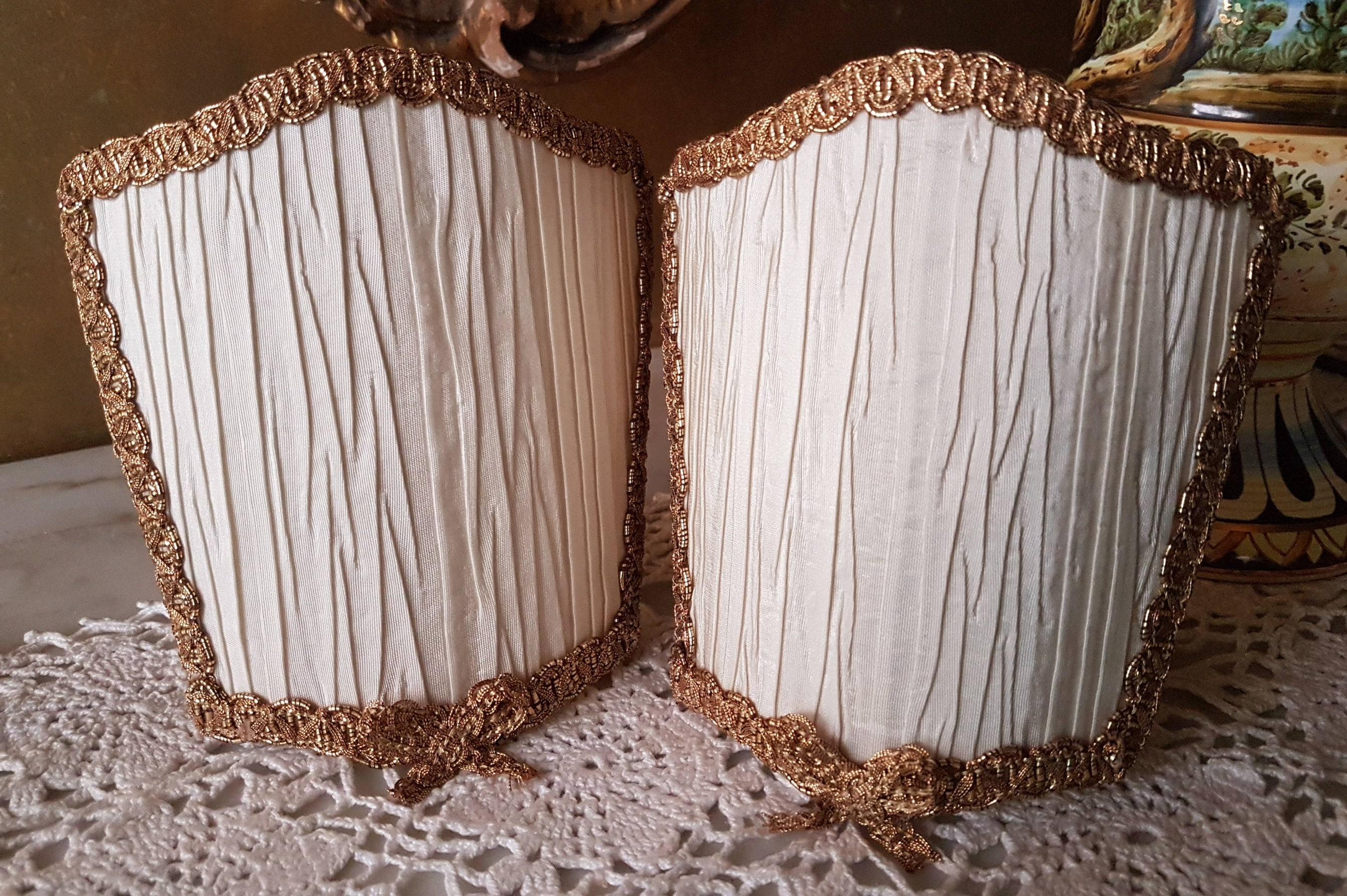 Paar venezianischen Elfenbein Plissee Taft Rubelli Stoff