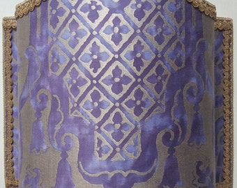 Wall Light Venetian Lamp Shade Fortuny Fabric Royal Purple & Silvery Gold Carnavalet Pattern - Handmade in Italy
