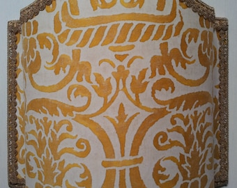 Wall Light Venetian Lamp Shade Fortuny Fabric Yellow & White Uccelli Pattern - Handmade in Italy