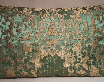 Green & Gold Silk Jacquard Rubelli Fabric Throw Pillow Cushion Cover Les Indes Galantes Pattern - Handmade in Italy