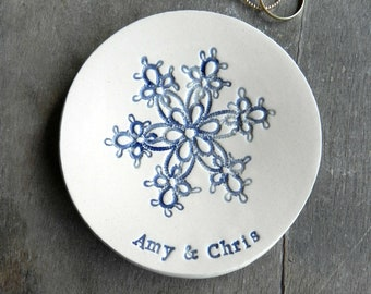 Winter Engagement Ring Holder, Personalized Snowflake Plate,  Ceramic Wedding Ring Dish, Lace Ring Pillow Custom Ring Plate Pottery
